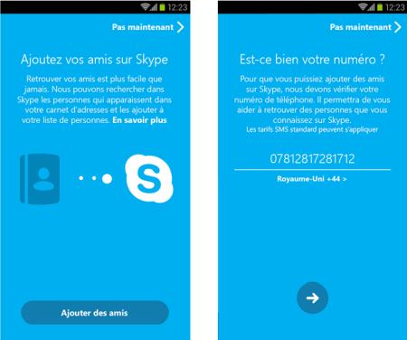 Skype 5.0 Android Numéro de téléphone
