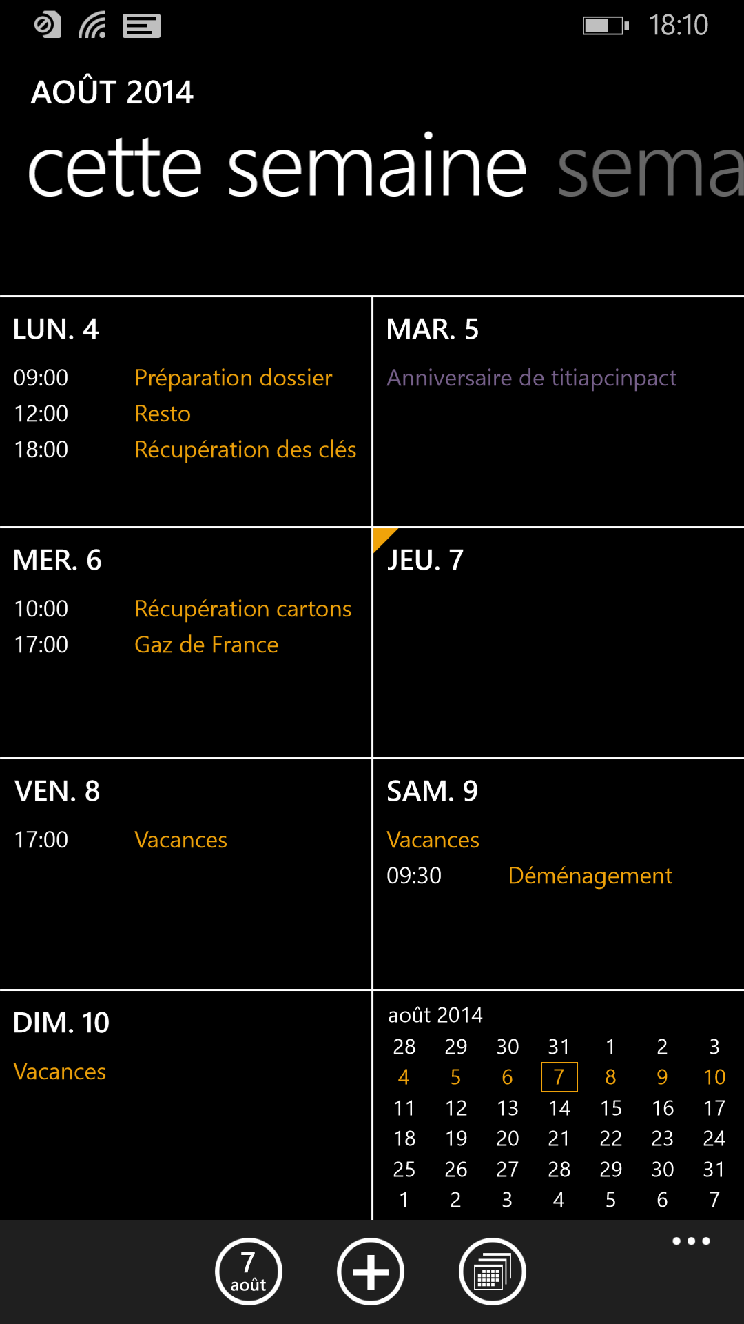 windows phone 8.1 calendrier