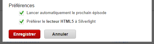 Netflix HTML5 Paramètres