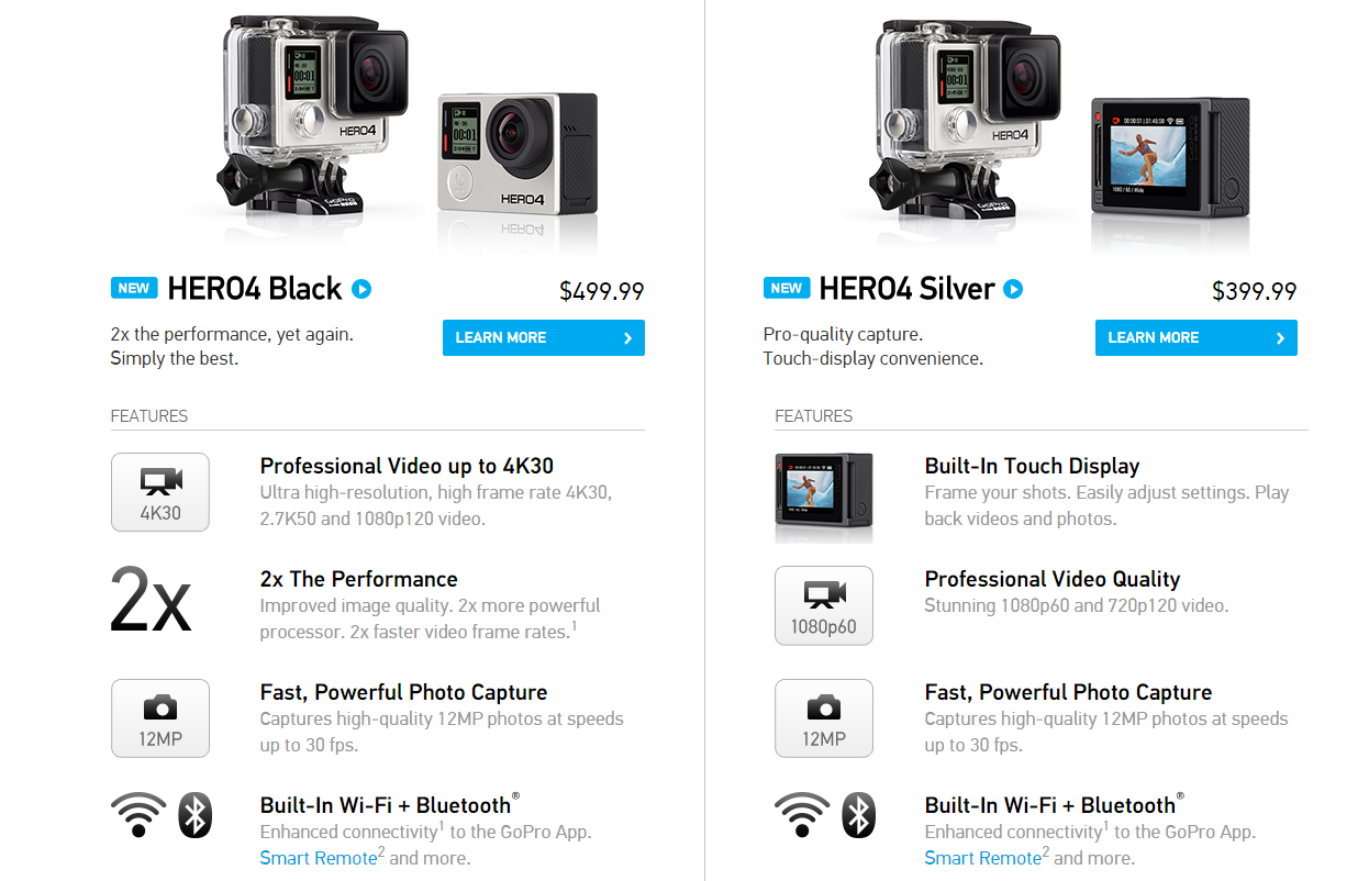 gopro d voile ses hero4 black et silver 4k 30 fps. Black Bedroom Furniture Sets. Home Design Ideas