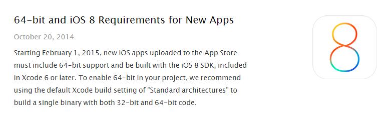 ios app store 64 bits