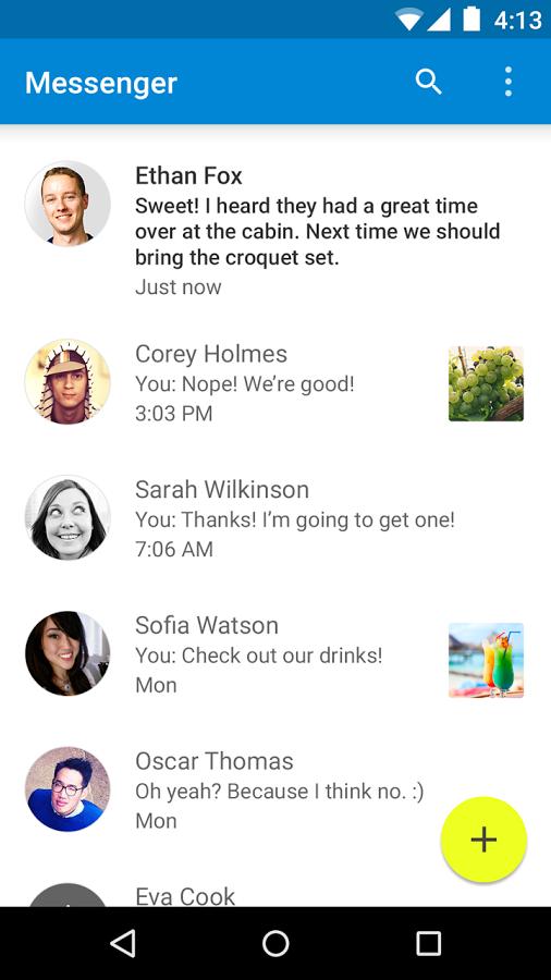 google messenger material design