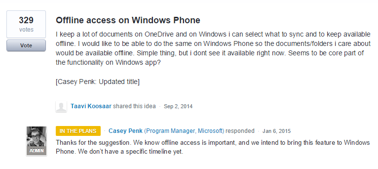 user voice windows phone onedrive