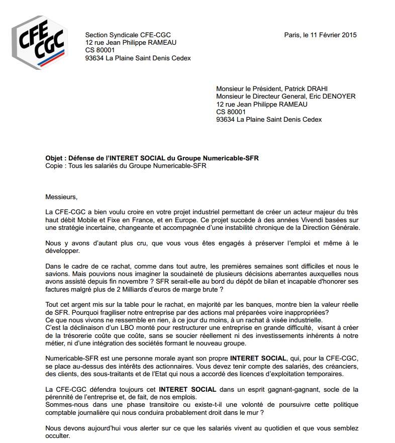 CFE-CGC SFR
