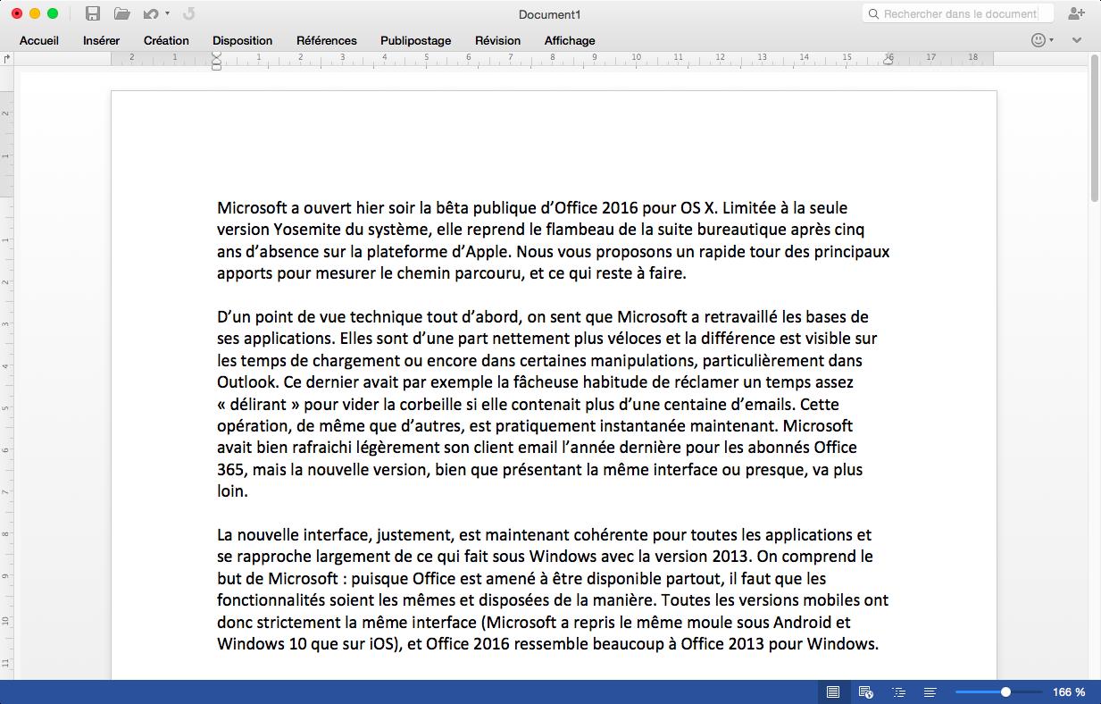 Office 2016 pour OS X rattrape en bonne partie la version Windows