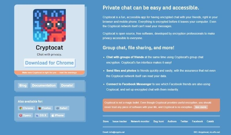 Cryptocat page d'accueil