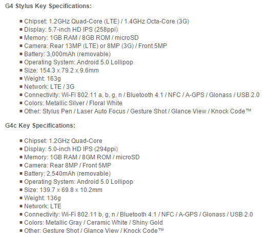 G4 S G4 Stylus LG