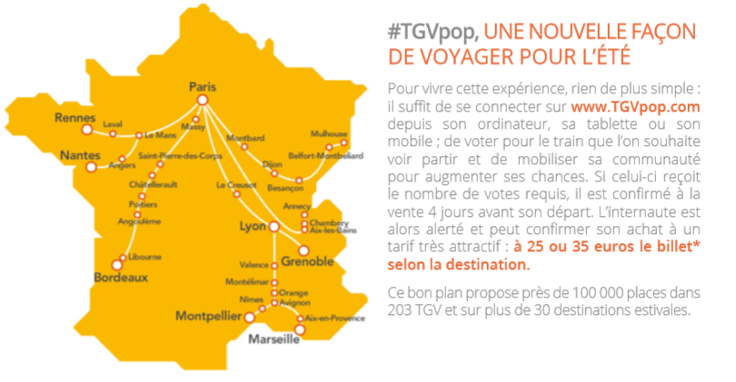 tgv pop la sncf mise sur la promo participative pour dynamiser son t. Black Bedroom Furniture Sets. Home Design Ideas