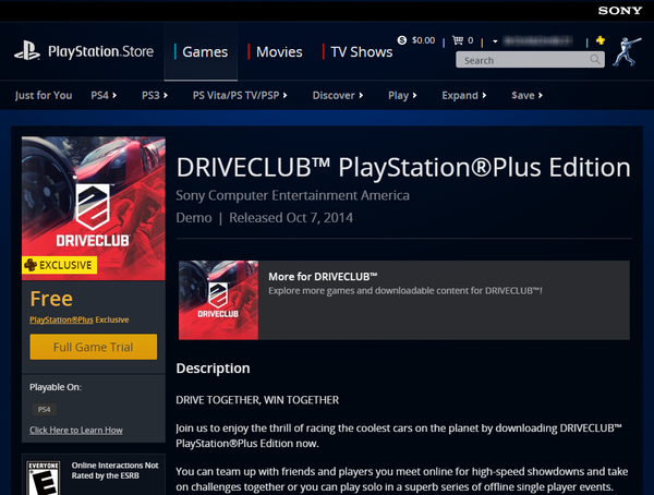 Drive Club PS Store
