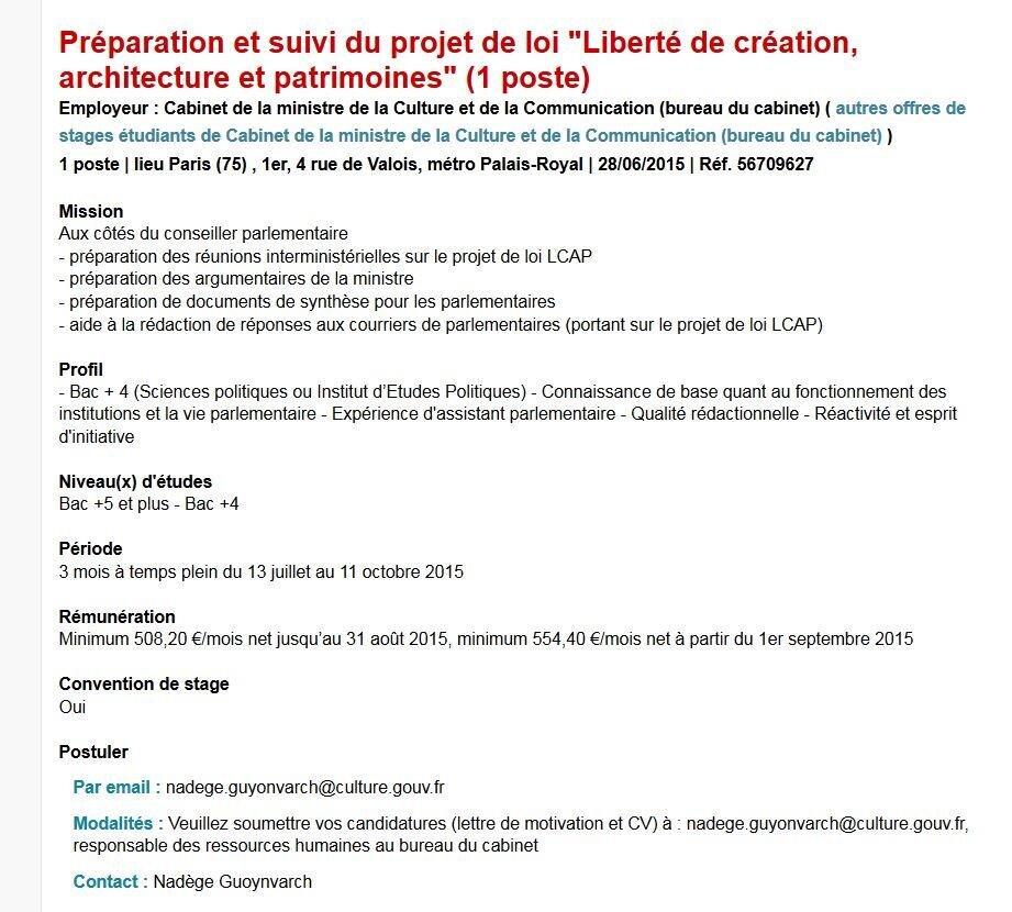 Loi Creation Un Stage A 554 40 Euros Mois Pour Aider Fleur Pellerin