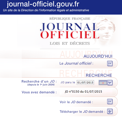 journal officiel jorf