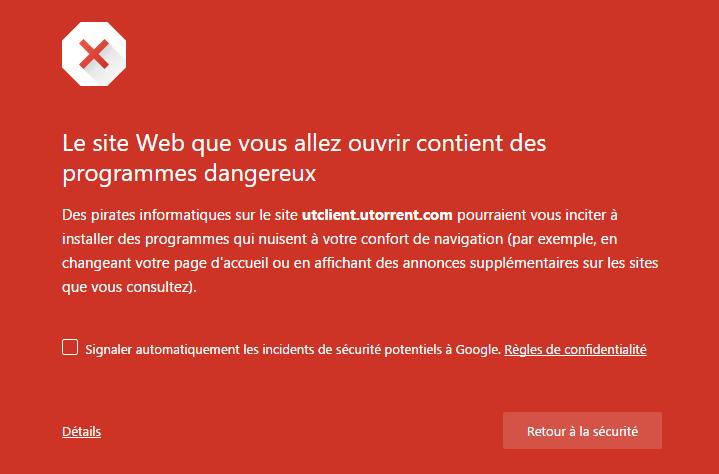 utorrent chrome safe browsing
