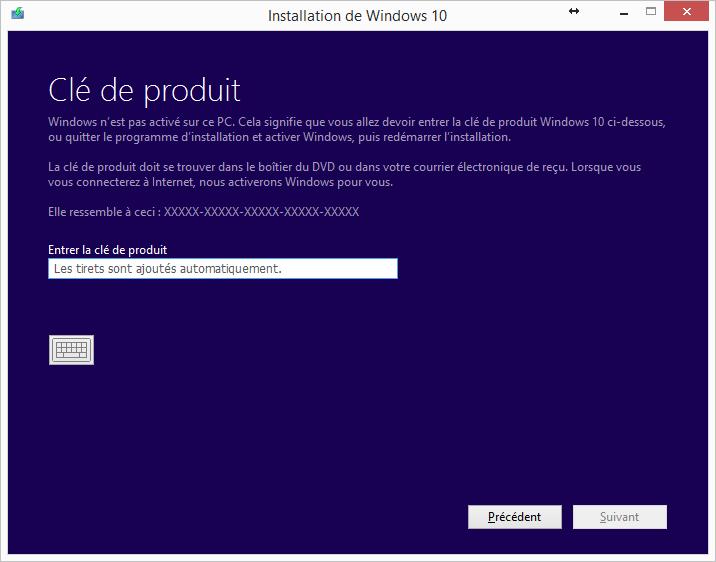 Windows 10 Mise à jour Numéro de série