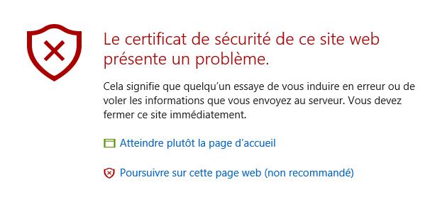 HTTPS Pas sécurisé
