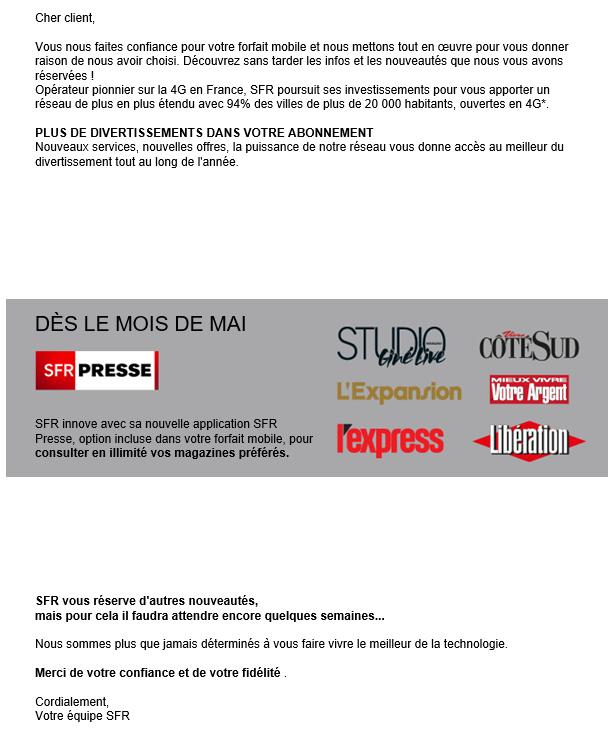 Lancement SFR Presse mail client