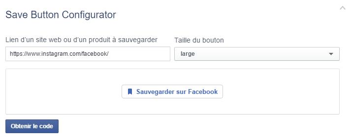 Bouton Sauvegarder sur Facebook