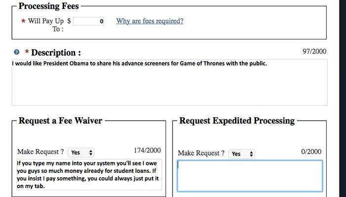 FOIA game of thrones
