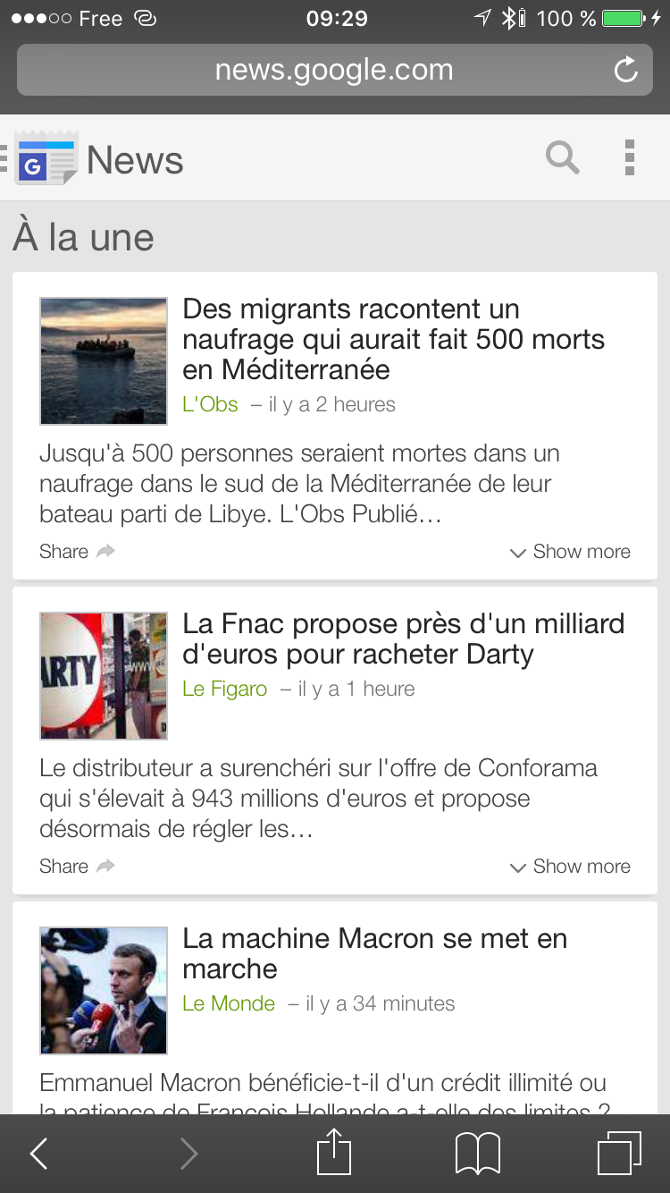 Google AMP News Carrousel