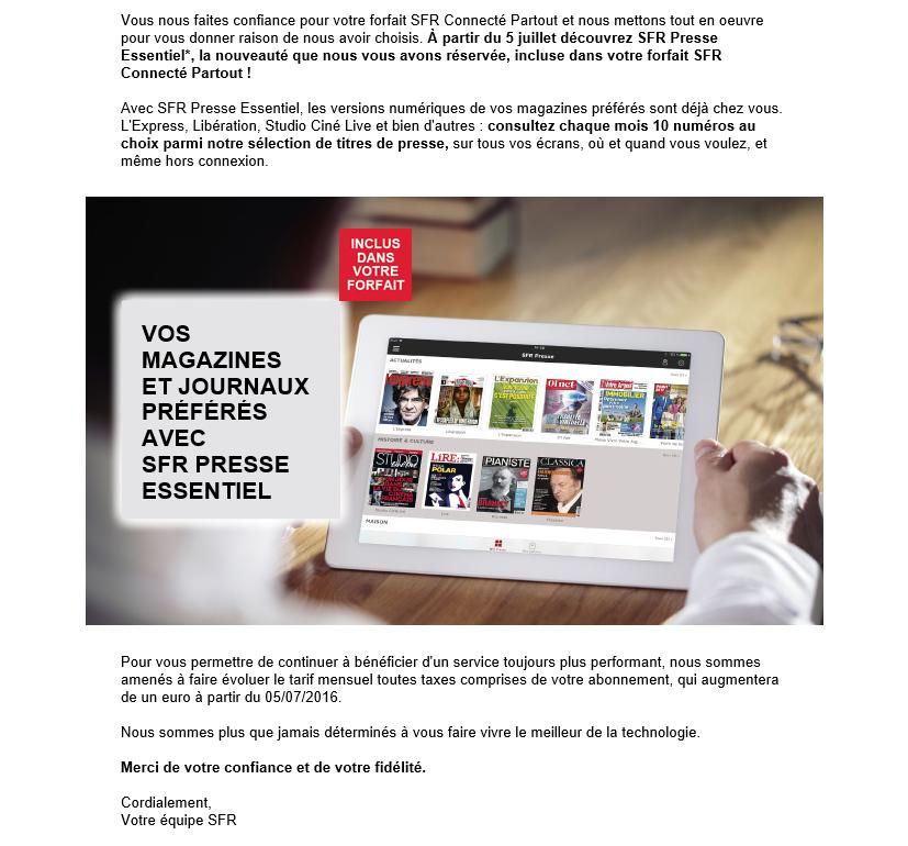 SFR Presse Essentiel Email Augmentation