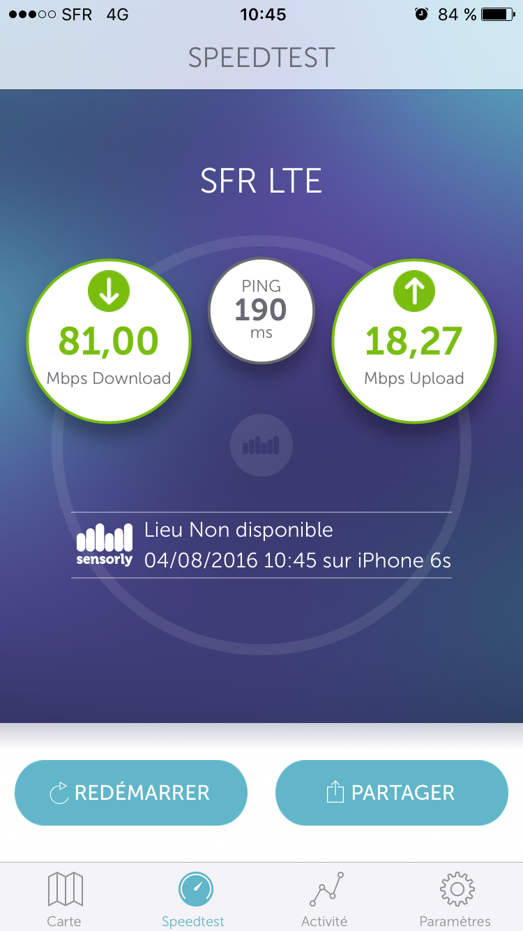 Sensorly iOS débits