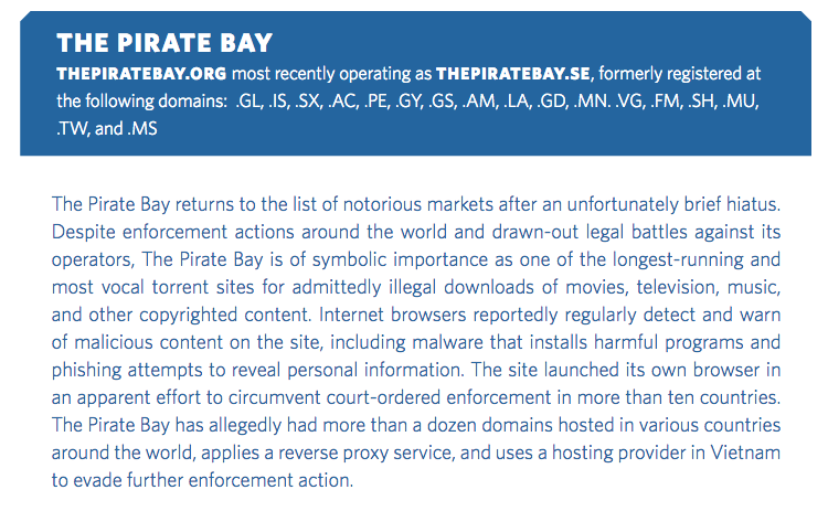 pirate bay liste noire ustr