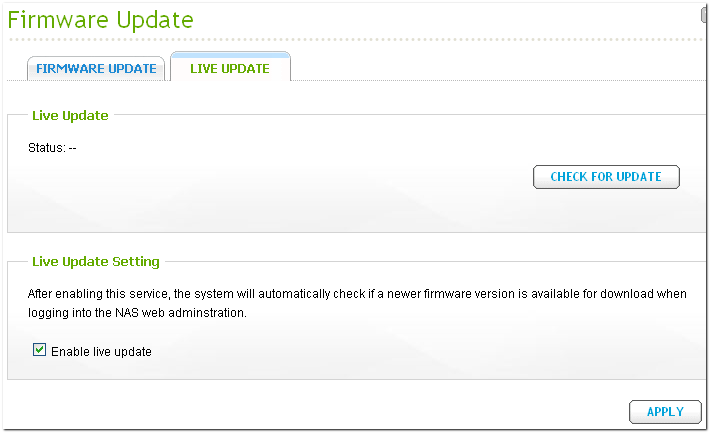 QNAP Firmware live update