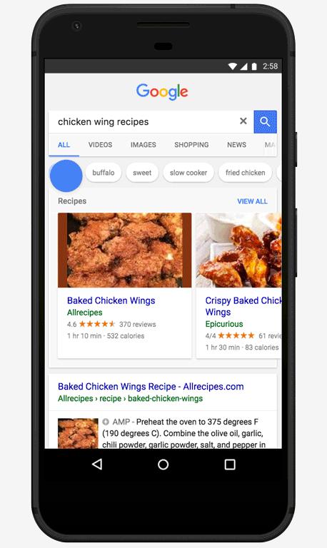 Google recettes poulet