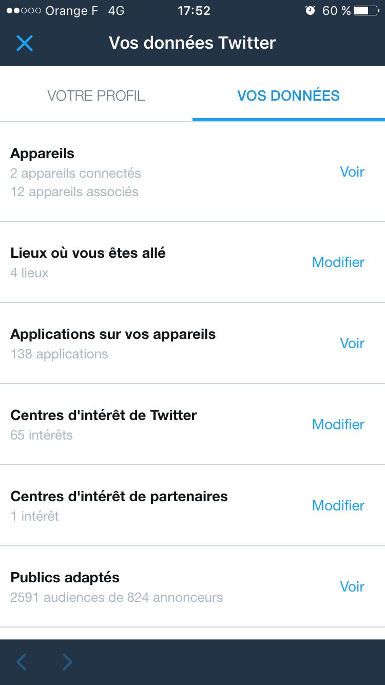 Twitter réglages vie privée