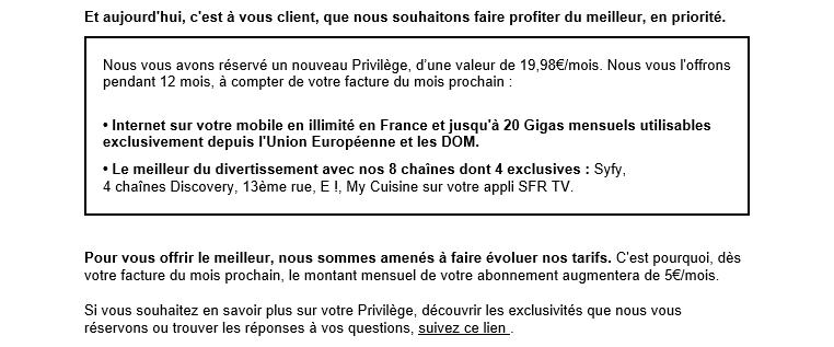 SFR Augmentation Juillet 2017