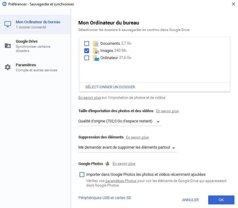 L'application Google Backup and Sync est disponible, voyons