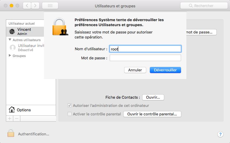 macOS : énorme faille de sécurité, utiliser root sans mot de passe