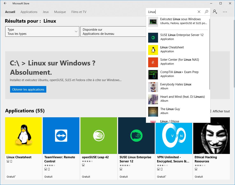 Debian, Kali Linux, SUSE ou Ubuntu sous Windows 10 : comment