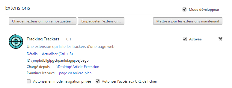 Extension Chrome Tracking Trackers