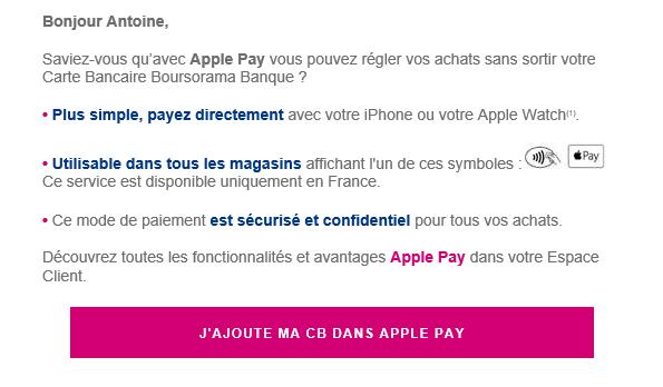Boursorama active Apple Pay sur iPhone