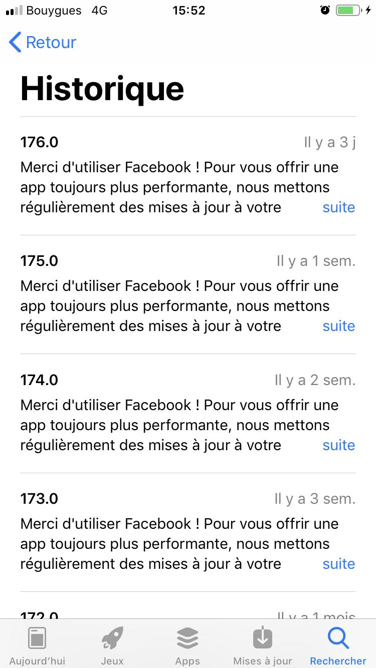 facebook changelog