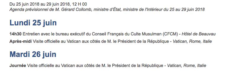 agenda ministre