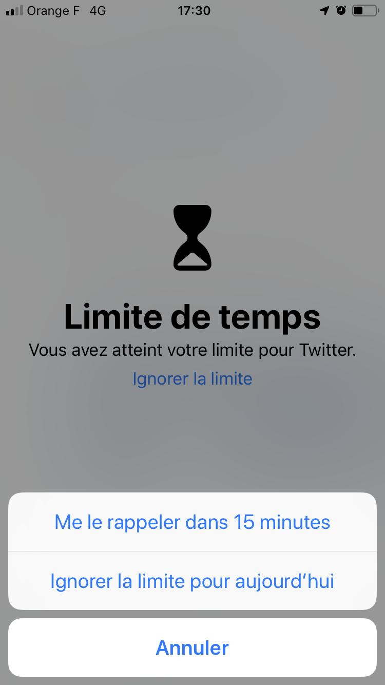 iOS 12Temps d'écran