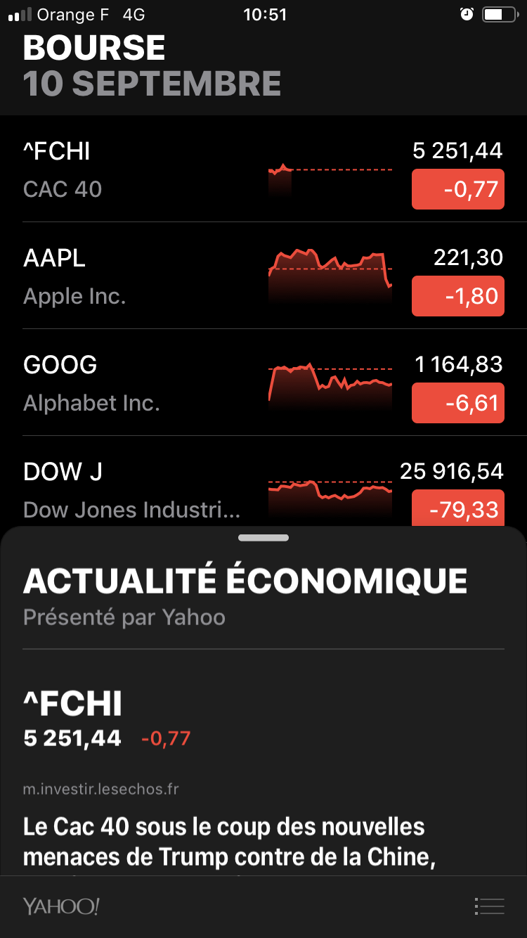 iOS 12 Bourse Dictaphone
