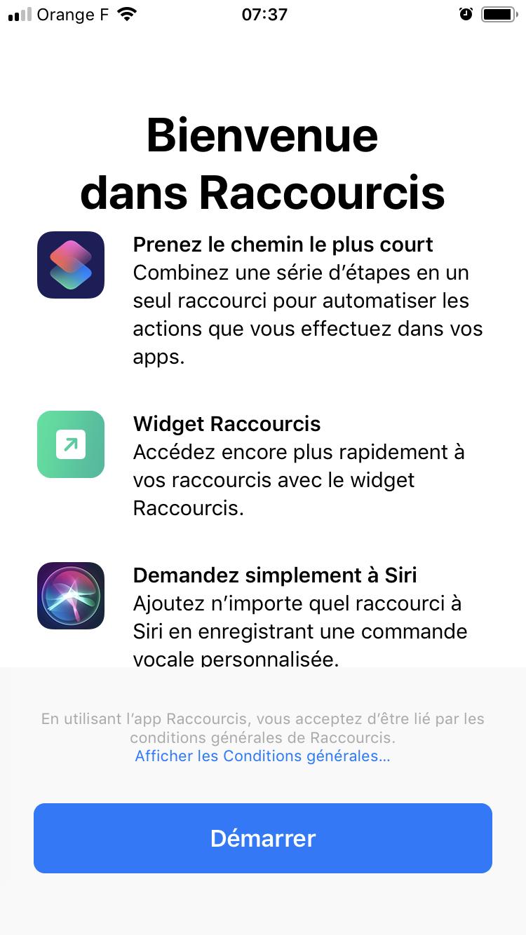 iOS 12 Raccourcis Rentrer