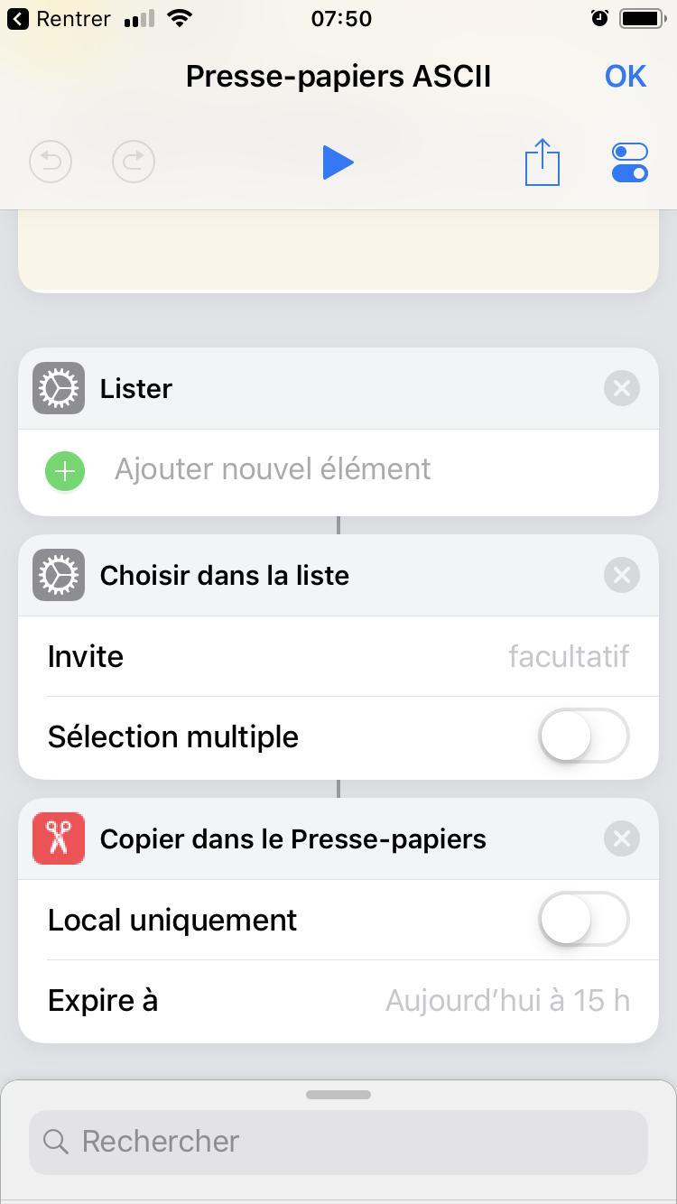 iOS 12 Raccourcis ASCII