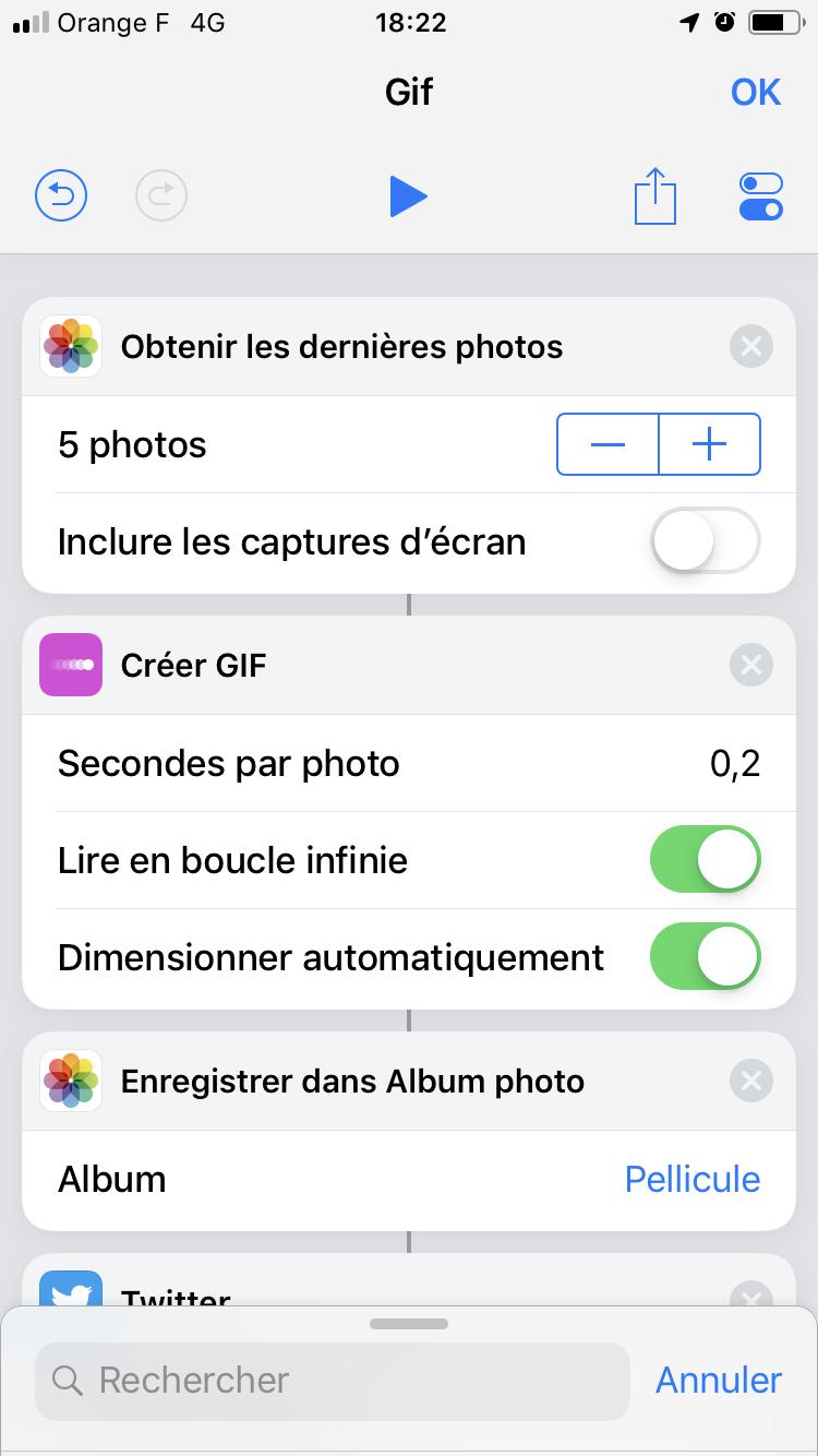 iOS 12 Raccourcis gif