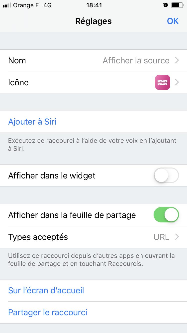 iOS 12 Raccourcis source