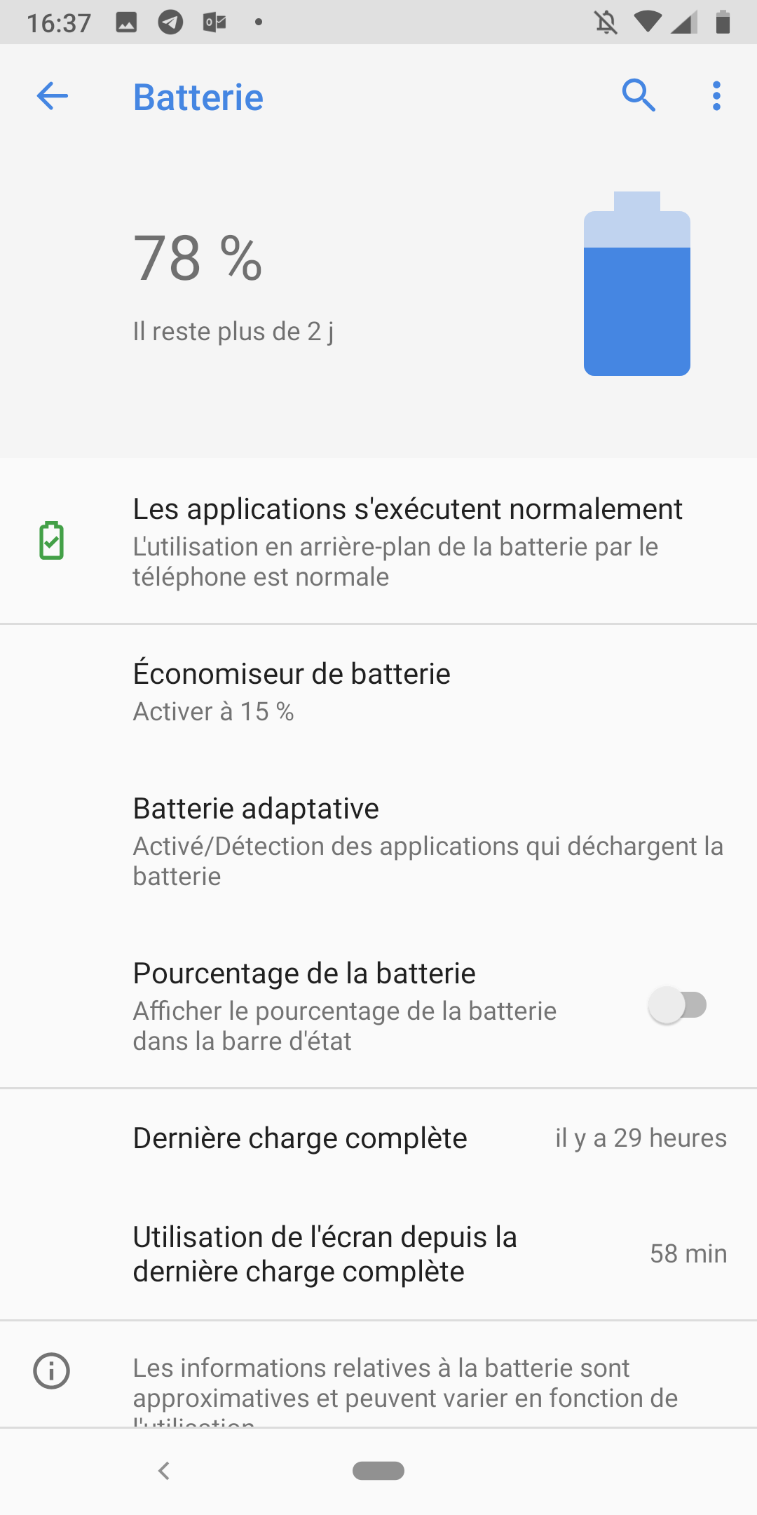 Android 9.0 Pie paramètres