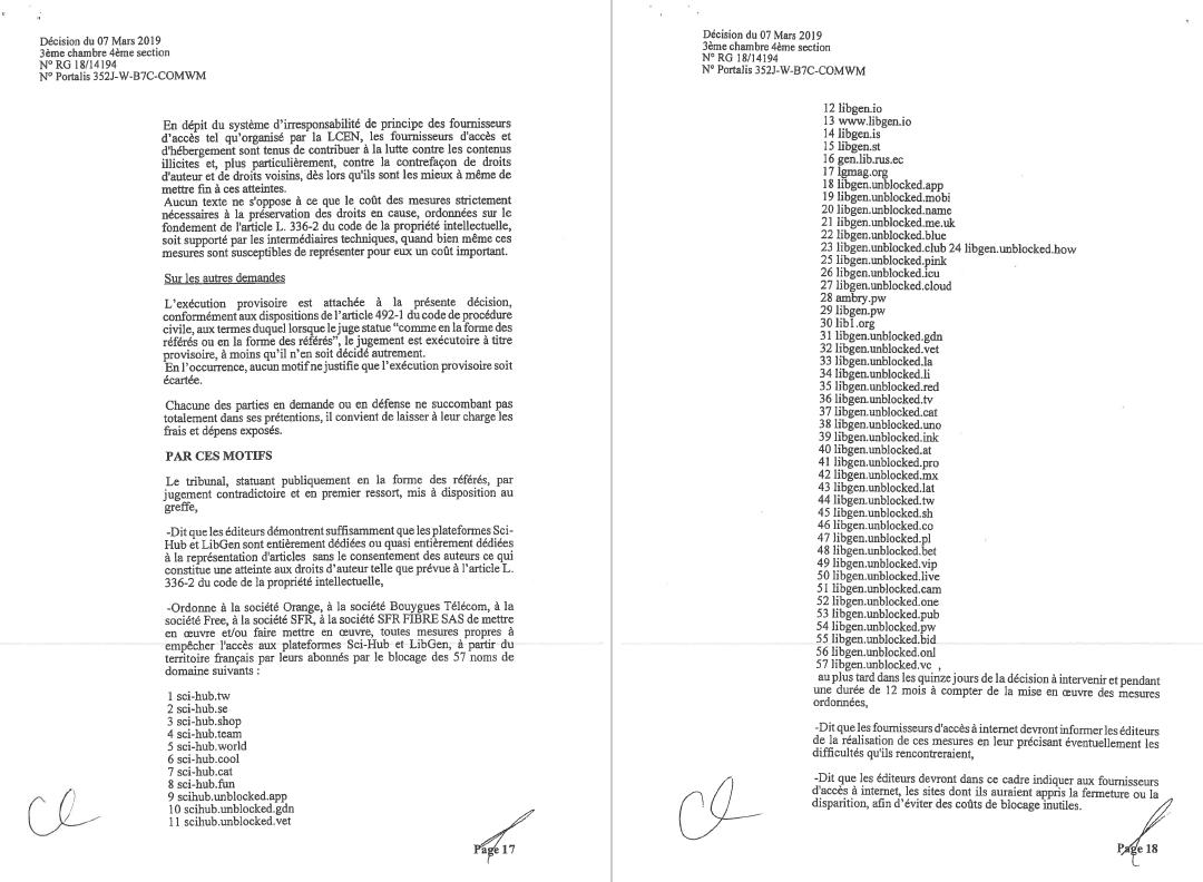 Les principaux FAI français doivent bloquer Sci-Hub et LibGen