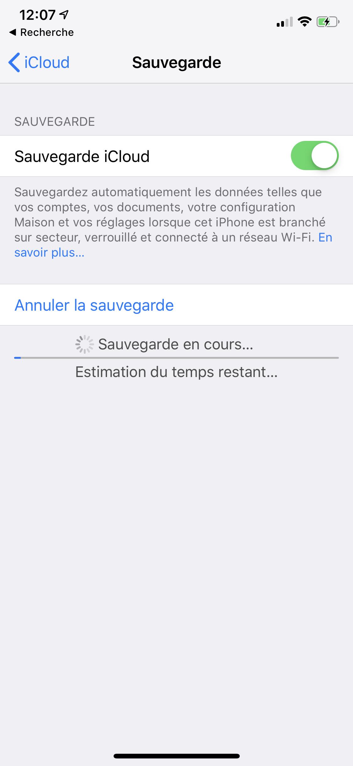 iOS iCloud sauvegarde