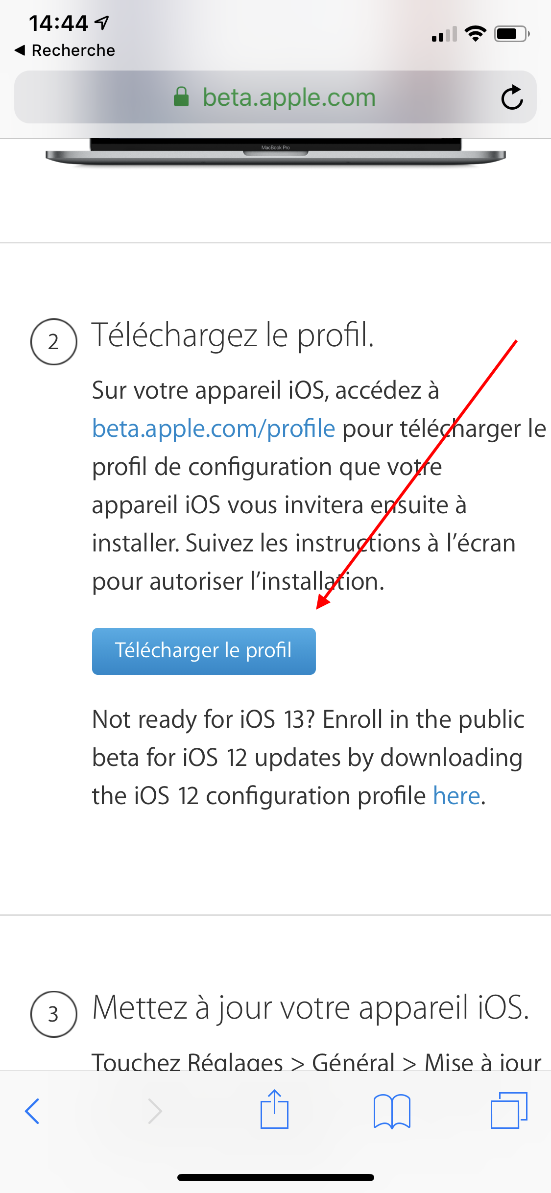 iOS Apple Beta profil