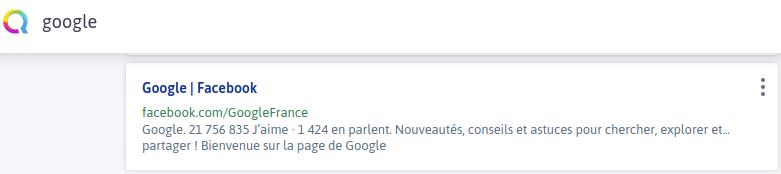 Qwant Facebook Google