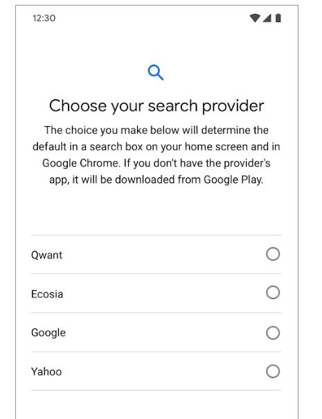 Google Android moteur de recherche choix aout 2019