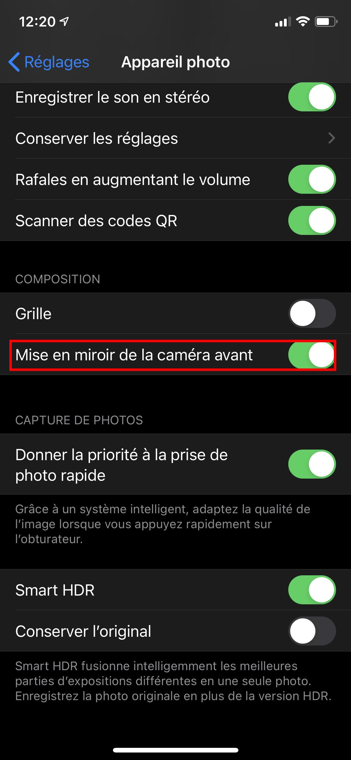 iOS 14 Caméra Photos