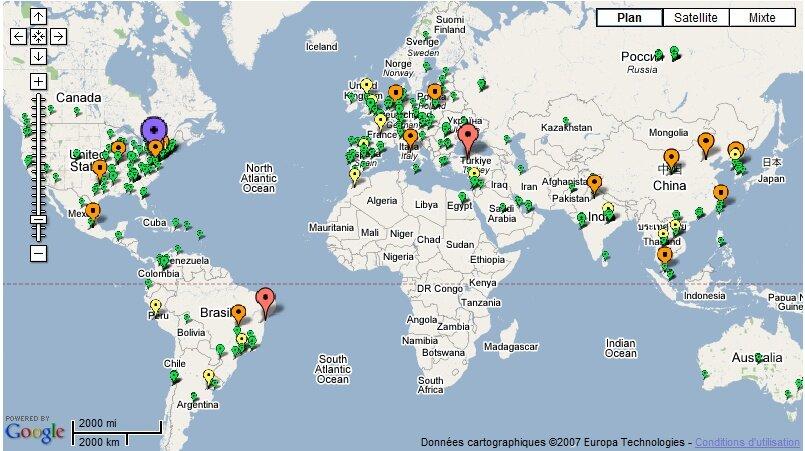 une carte des metteurs de spam travers le monde. Black Bedroom Furniture Sets. Home Design Ideas